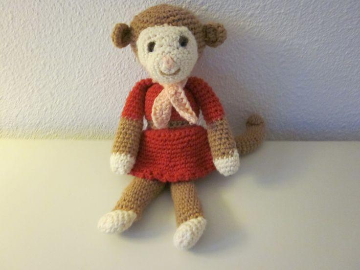 grappig aapje, gehaakt door Gerda