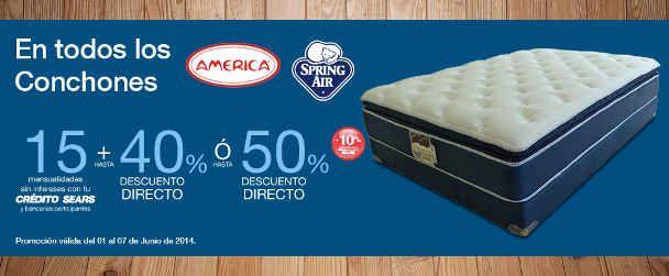 Sears: 50% de descuento colchones Spring Air y America Sears tiene en oferta los colchones de las marcas Spring Air y America con hasta un 50% de descuento directo o hasta 40% de descuento y 15 mensualidades sin intereses con crédito Sears y tarjetas participantes. Esta oferta y promoción de S... -> http://www.cuponofertas.com.mx/oferta/sears-50-de-descuento-colchones-spring-air-y-america/