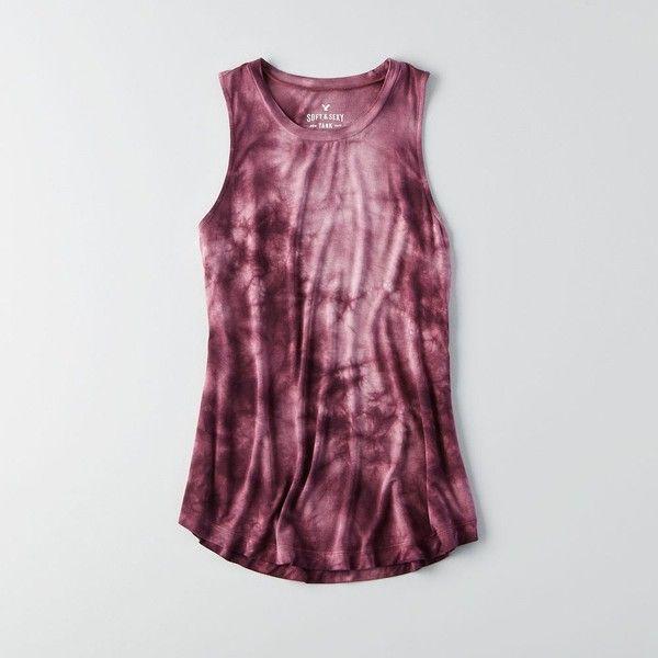 AEO Soft & Sexy Drapey Tank ($15) ❤ liked on Polyvore featuring tops, draped tank top, tye dye tank top, drapey tank, tie dye tank top and purple tank