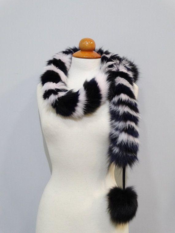 Fox furReal fox fur scarf Twisted scarfScarf with by FilimegasFurs