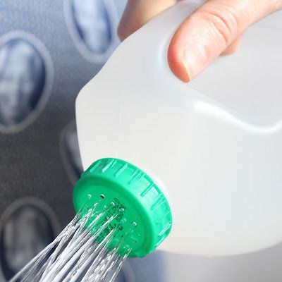 Milk Container Watering Pot : Poke holes on the lid of a milk jug to turn it into a handy watering can. Just fill it up with water and pour away!  Source: A Journey to a Dream
