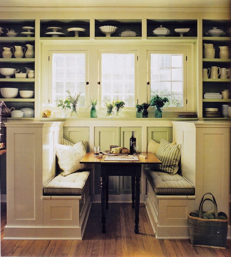 Banquette made from bookcases and benches. Scanned from The Best Of Martha Stewart Living. How-to is here: http://pinterest.com/pin/213358101066494675/