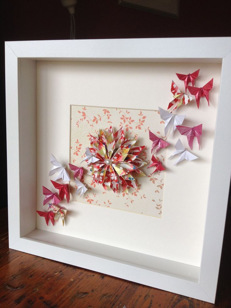 Origami Dahlia And Butterflies In A Frame Order Via Www Facebook Com Chienowa Origami Origami