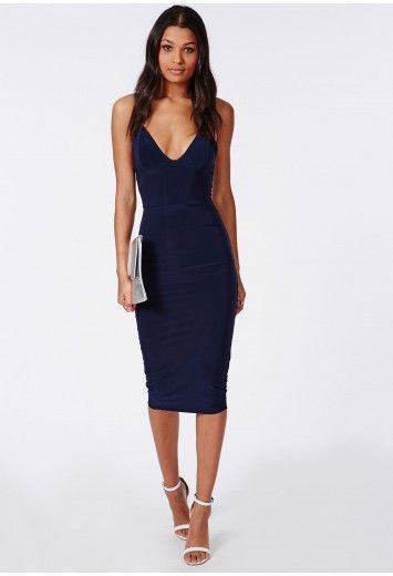 Ensure your look is simple and sophisticated with this slinky navy dress. This head turningly hot midi length dress with bodycon shape and slinky straps will flatter to create that perfect silhouette. Style it simply, with barely there heel...