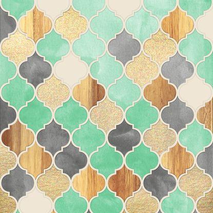 Charcoal, Mint, Wood & Gold Moroccan Pattern Art Print