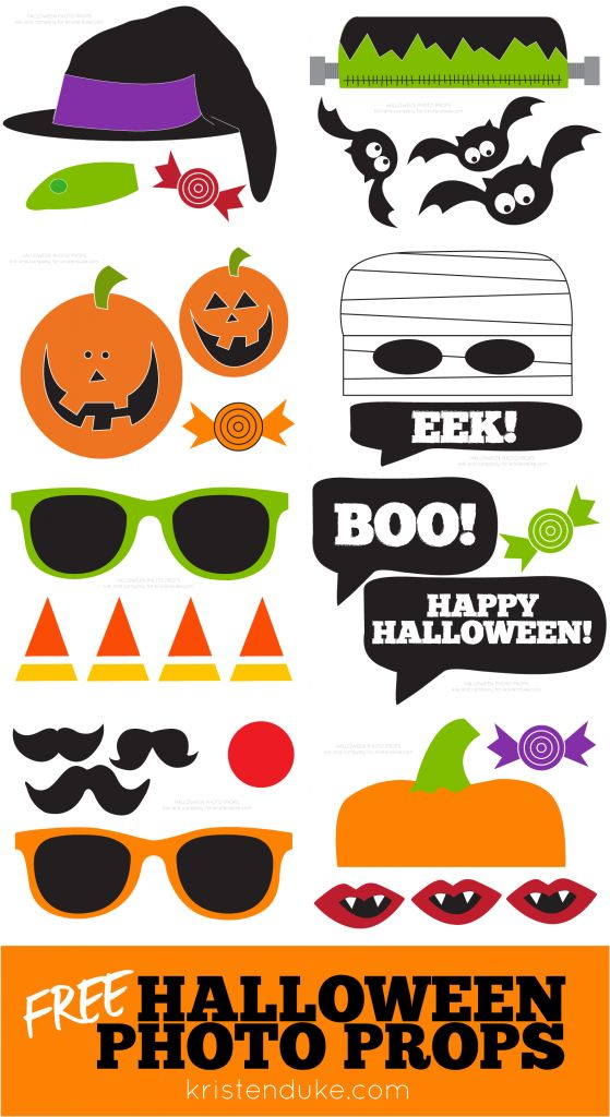 Fun FREE printable Halloween Photo Props - perfect for a party photo booth KristenDuke.com