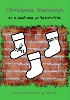 Christmas stockings - black and white template