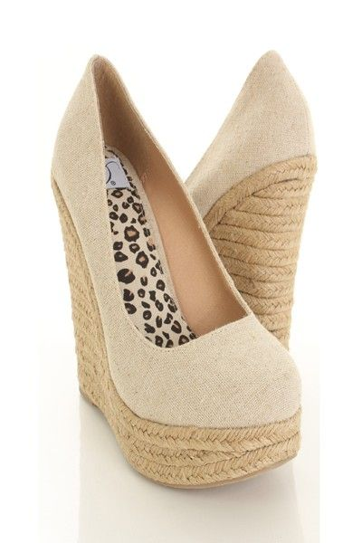 Natural Linen Canvas Round Closed Toe Espadrille Wedges / Sexy Clubwear | Party Dresses | Sexy Shoes | Womens Shoes and Clothing | AMI CLubwear