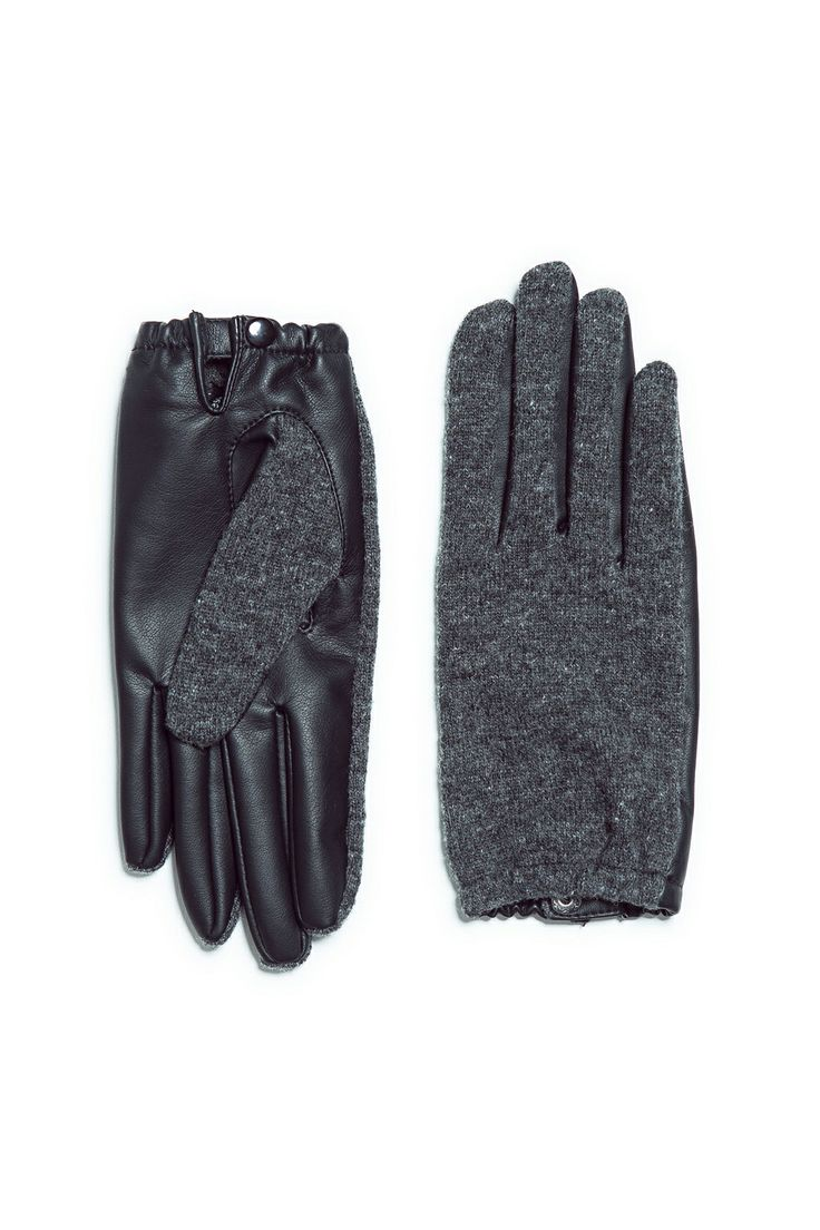 Black leather gloves with red buttons - Zara Clothing Affordable Trendy Styles For Winter Grey Glovesleather