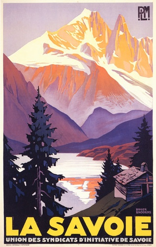 "FRENCH ALPS LA SAVOIE MOUNTAIN COUNTRY SKI SPORT VINTAGE POSTER REPRO 12""X16"" 
