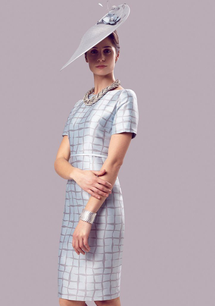 Dress with Sleeves in Pale Blue/Grey Silk Jacquard - Angie