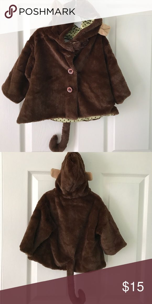 Baby monkey jacket Brown velvety jacket with monkey ears and tail- excellent condition Bearington Jackets & Coats