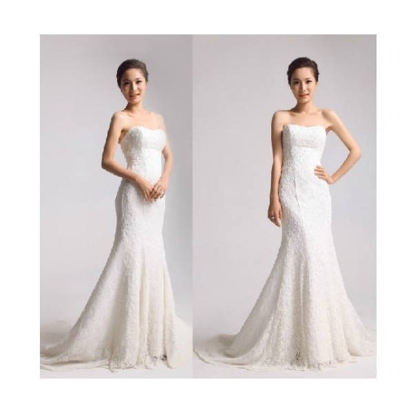 Buy All Over Beaded Lace Gown Sweetheart Neckline With Lace-up Back... via Polyvore