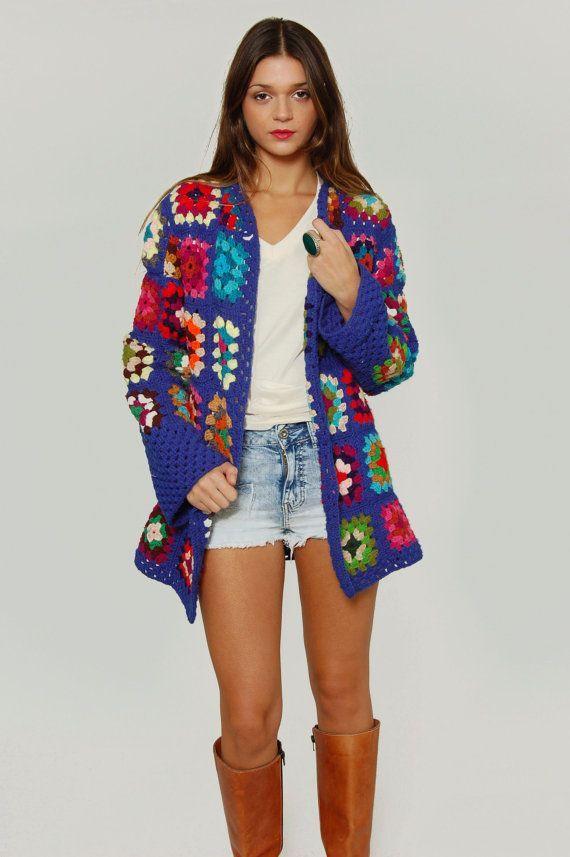 Vintage 1970s GRANNY SQUARE Crochet Sweater Multi Color Hand Knit Free Size…