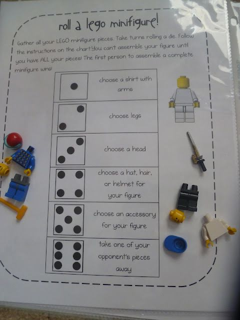 Roll a Lego mini figure Learning Fun with Lego Activities + Lego block sandwich! http://mamato3blessings.blogspot.com/2012/04/lego-learning-with-fun-activities-lego.html
