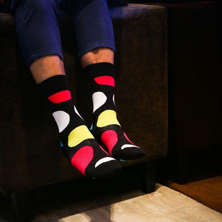Men's Bright Big Geo Pattern Socks (3 Pair) - Free Shipping - DealExtreme