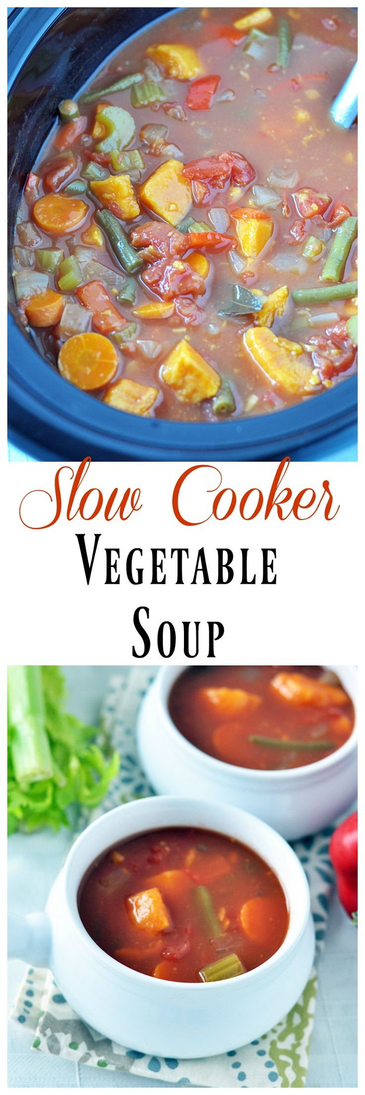 Slow Cooker Vegetable Soup. Ingredients: broth, onion, celery, carrots, sweet potato, green beans, bell pepper, garlic, dried parsley, sea salt. Cook 3-5 on High