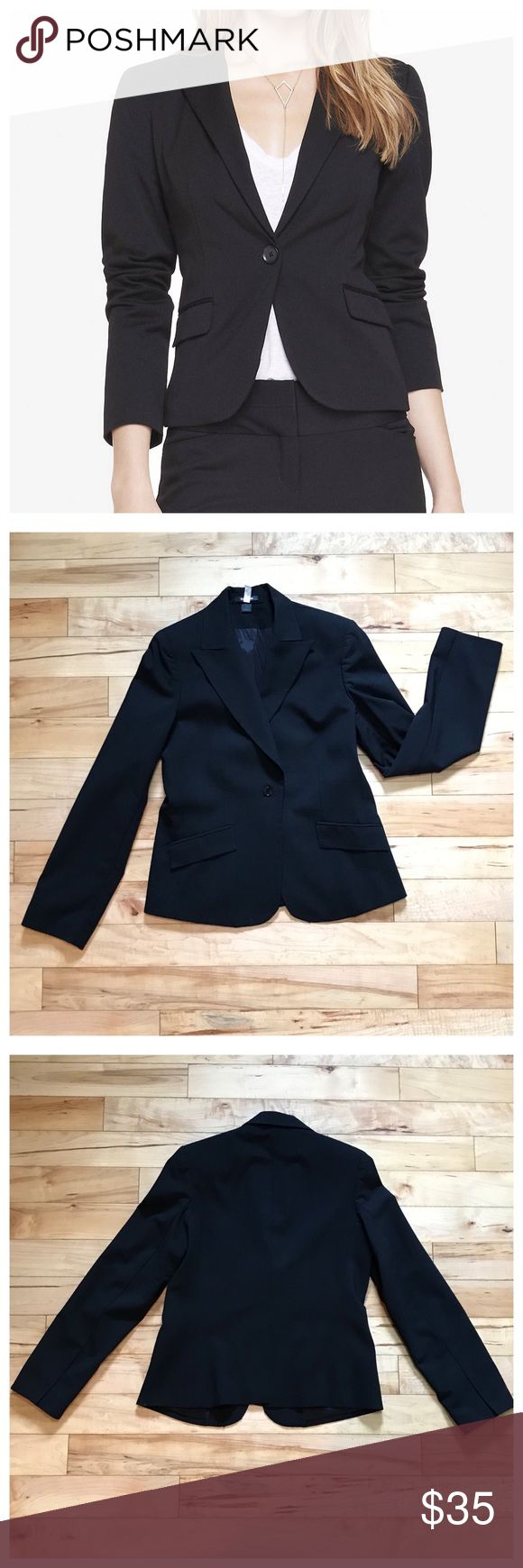 Express lined blazer Express fully lined blazer in traditional black features one button styling & no buttons on the wrist for comfort. Lightly padded shoulders. Looks great with dress pants or more casual with jeans.  Only worn a few times but i can say it's really comfortable, almost like its slightly stretchy.  Size 10  Just back from dry cleaners Express Jackets & Coats Blazers