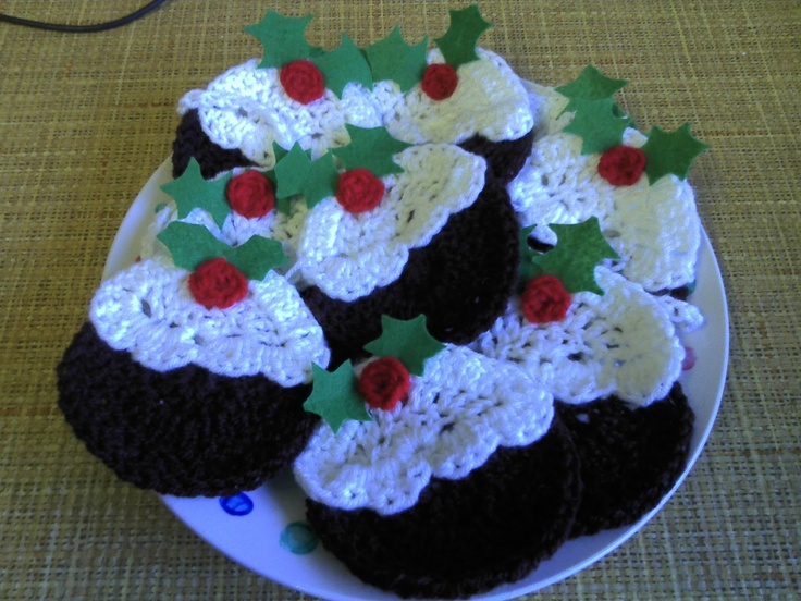 crochet christmas puddings - includes pattern - made for me last Christmas-love them!