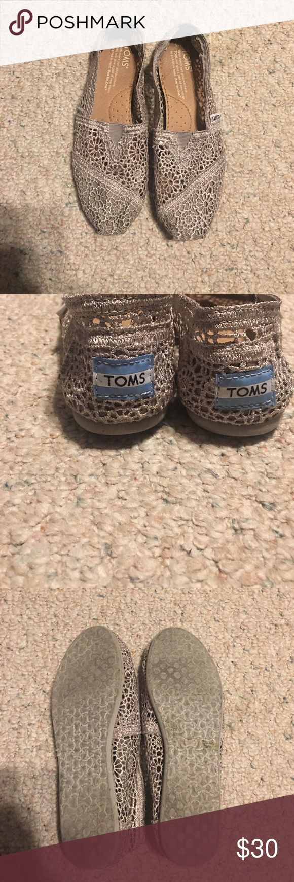 Gray toms Classics silver morocco crochet toms. Size 5. Has a box. TOMS Shoes Sandals