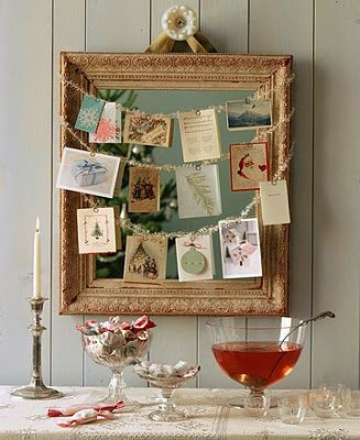 Instead of taping cards on a door, this is a much neater way to display Christmas/ holiday/birthday cards.