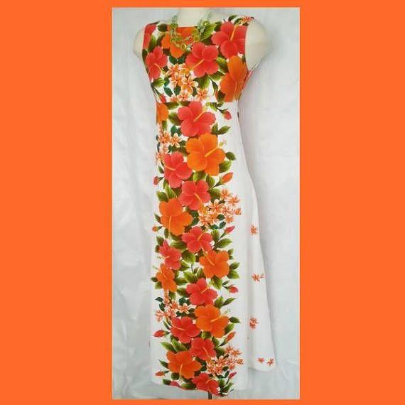 Ui Makai Orange & Red Hibiscus Hawaiin Maxi Dress