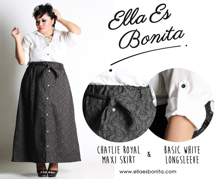 Basic white Long Sleeve & Chatlie Royal Maxi Skirt - This vintage shirt and skirt features high quality cottone crepe for shirt and thick stretch twill for skirt which specially designed for sophisticated curvy women originally made by Indonesian Designer & Local Brand: Ella Es Bonita. Available at www.ellaesbonita.com