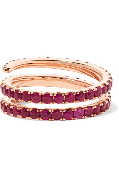 Anita Ko - Coil 18-karat Rose Gold Ruby Ring - 7