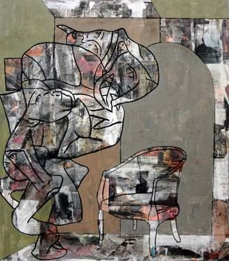 """Optic Wolf (enamel,newsprint and charcoal on canvas) 52""""x46"""" 2014"""
