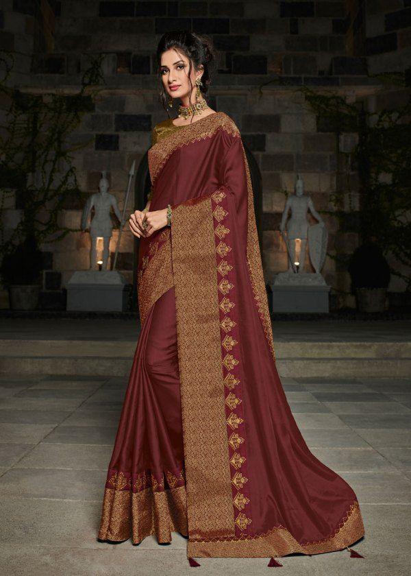 94fea55570 Maroon Color Broad Border Satin Silk Party Wear Saree | Party Wear Saree | Silk  sarees, Art silk sarees, Saree