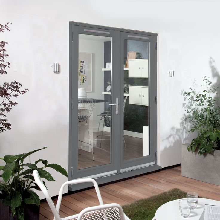 exterior hardwood door sets. clear glazed grey fully finished timber external french door set, (h)2094mm (w)1794mm exterior hardwood sets d