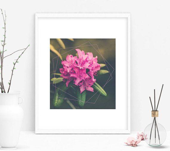 Pink Geometric Flower Art Print by SilverThorneDesignCo on Etsy