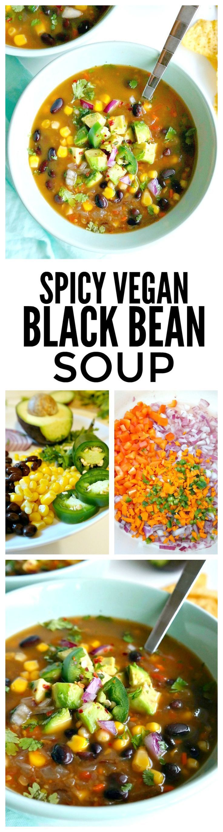 Spicy Vegan Black Bean Soup. Healthy, delicious, simple, packed with extra veggie goodness & ready in under 1 hour. This oil-free recipe is bursting with flavor and leaves plenty of leftovers. *** Made as directed (but used a whole lime), one batch. Made more than enough for left overs. Leave it on the chunkier side, add more peppers, w/ extra lime wedges on the side, extra cilantro, avocado, & HM baked corn chips***)