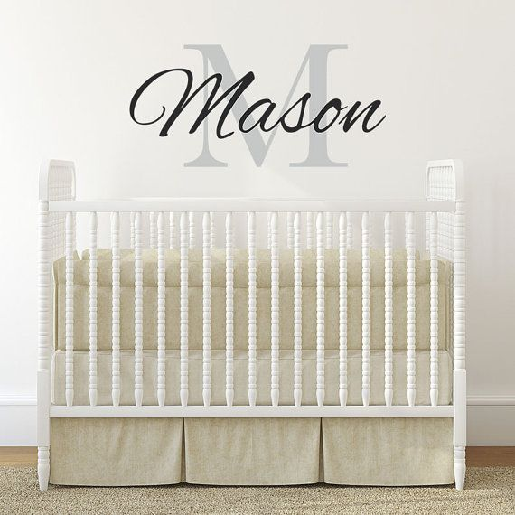 Boys Name Wall Decal - Nursery Baby Boys Vinyl Wall Art - Childrens Wall Decals - Personalized Wall Monogram Wall Decal