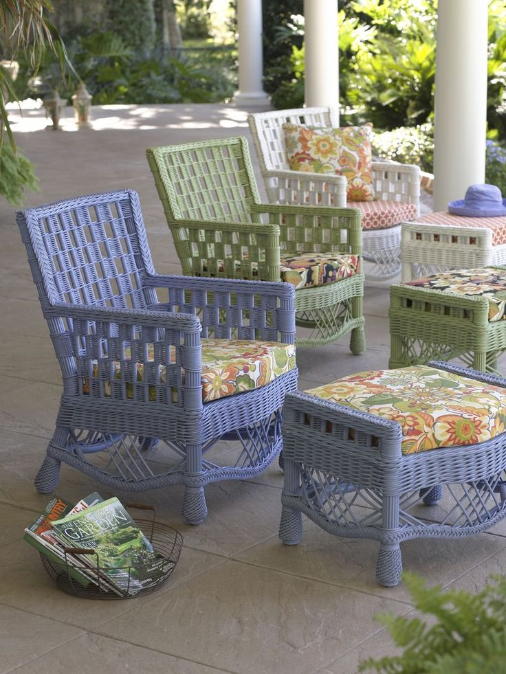 Summer Cottage Wicker Chair - Breezy cool colors look inviting.