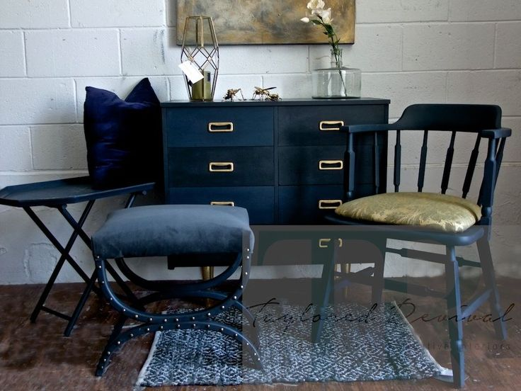 """""""One Dark Mid Century Evening"""" Collection by Taylored Revival 2016 #annie  #sloan #chalk #paint #napoleonic #blue #graphite #mid #century"""