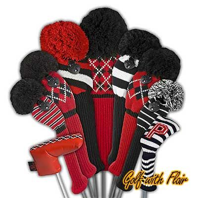 Red/white, black/white and red/white/black striped knitted golf club headcovers w/ red/black/white Argyle accent club covers & putter covers.