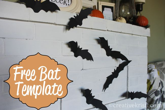 Free bat template (3 sizes) to create a flying bat mantle. Just downloaded this and Olivia and I will be cutting out bats today :)