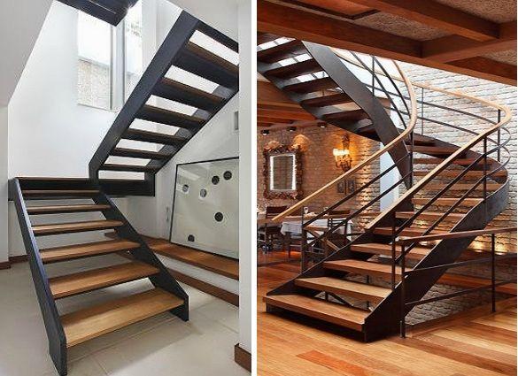 Duas escadas e um mesmo princípio: vigas metálicas laterais pretas + degraus de madeira.