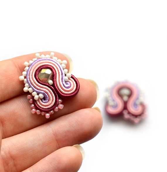 Clip-on earrings soutache clip on post earrings orecchini ohrringe burgundy pink purple Boucles d'oreilles jewelry statement bridesmaid