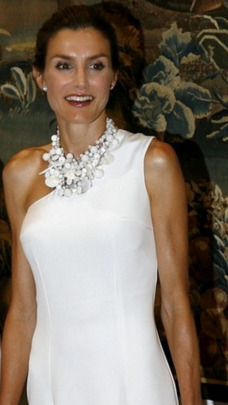 Princess Letizia of Spain attends traditional summer dinner at the Almudaina Palace on August 2009 in Palma de Mallorca Spain