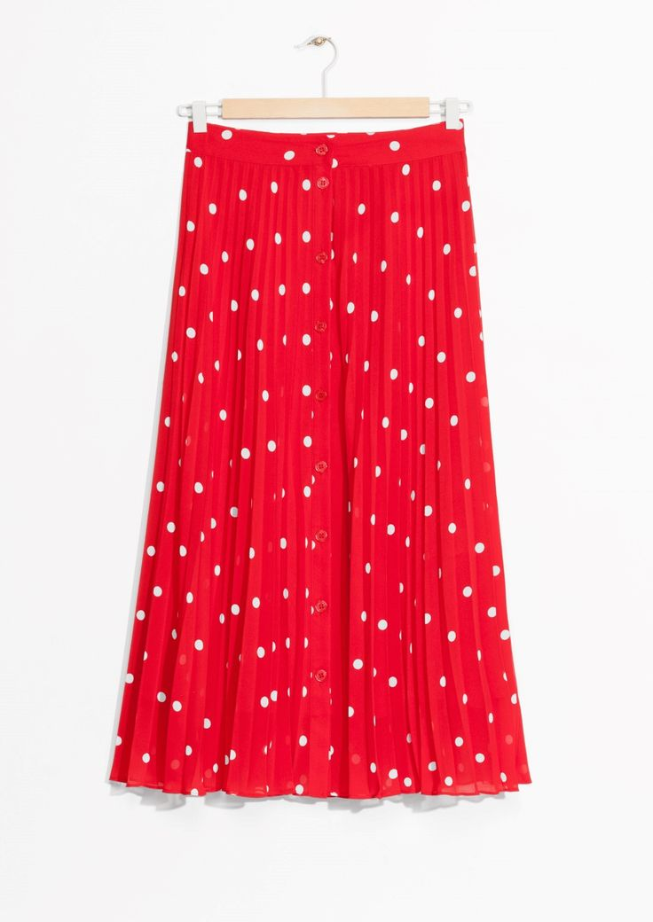 & Other Stories image 1 of Pleated Skirt in Red Dot Print