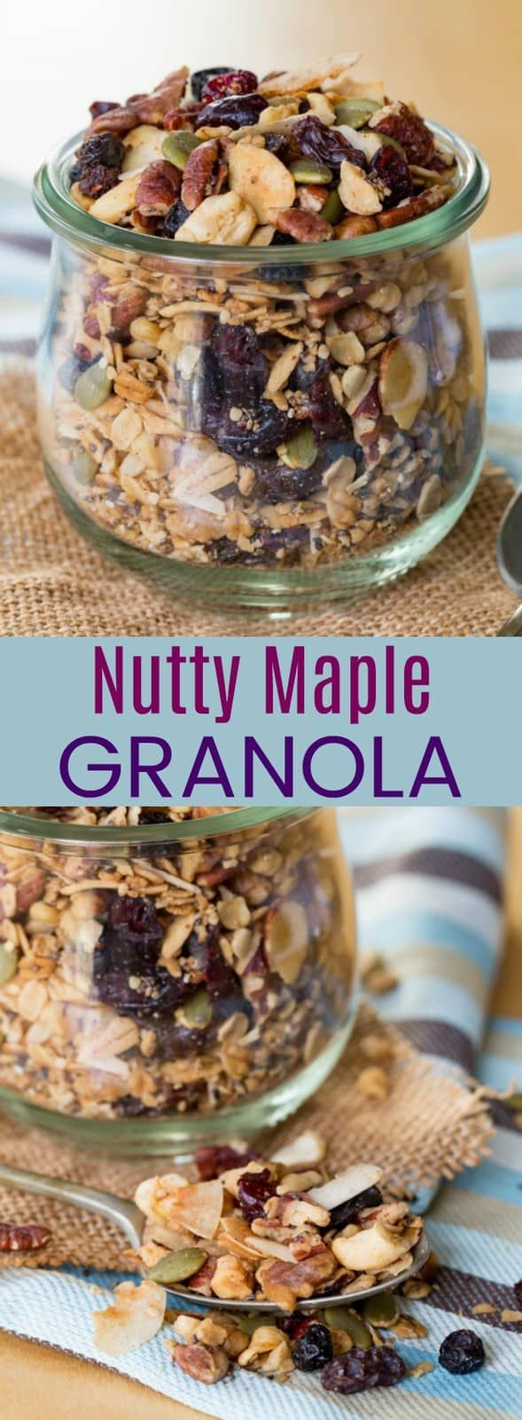 Nutty Maple Granola - this easy granola recipe is packed with oats, nuts, seeds, and dried fruit, plus a bit of maple syrup for a healthy breakfast or snack. It's also gluten-free, dairy-free, and vegan! #granola #granolarecipe #glutenfree #vegan #dairyfree #glutenfreerecipe #healthysnack #breakfast #cupcakesandkalechips