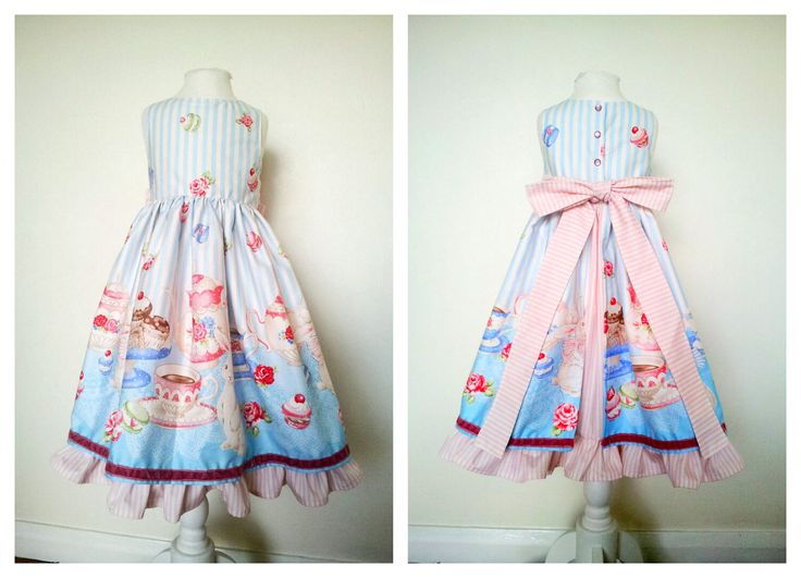 Tea party dress Alice in wonderland inspired Twirly with underskirt.