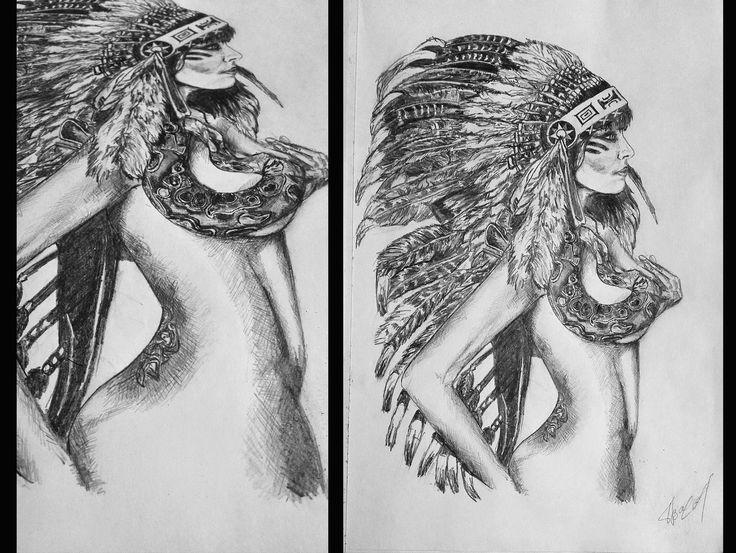 Рисунки карандашом, рисунки на заказ,девушка, графика,черно белы, женское тело, индеец