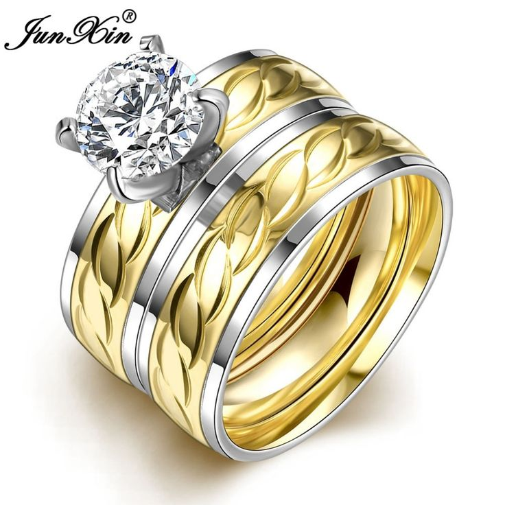 JUNXIN Brand Chain Design Stainless Steel Ring Sets Promise Wedding Engagement Rings For Men And Women Birthday Gifts SMT0396