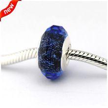 100% 925 Joya de Plata de ley Adapta Pandora Charms De Cristal De Murano Pulsera de Perlas para Las Mujeres Azul Fascinante Iridiscencia P155016A(China (Mainland))