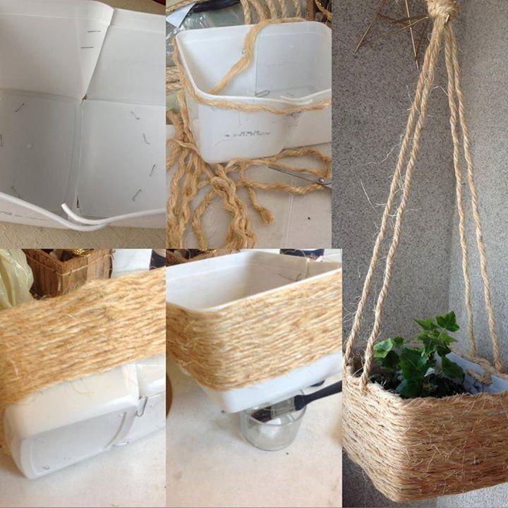 vaso para plantas coberto com corda no estilo rústico
