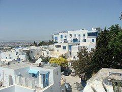 Árabe, Casas, Azul, Panorama, Blanco