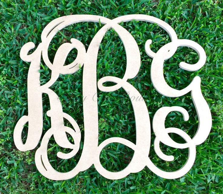 Custom Unfinished Triple Wooden Monogram - Vine Font